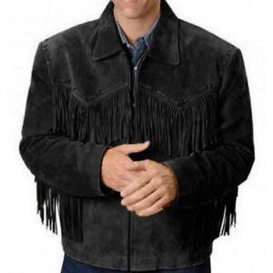 Black-Western-Suede-Leather-Mens-Wear-Native-Cowboy-Fringe-Vintage-Coat-Jacket