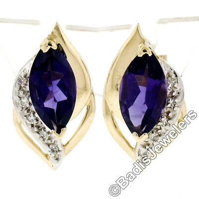 14k Petite Yellow Gold Round Natural Amethyst Stud Earrings