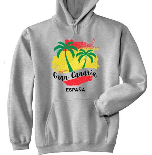 Gran Canaria Canary Islands-Neuf en coton Sweat à capuche gris
