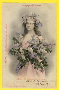 """cpa bergeret dos 1900 femme langage des fleurs """"lilas"""" journal l"""