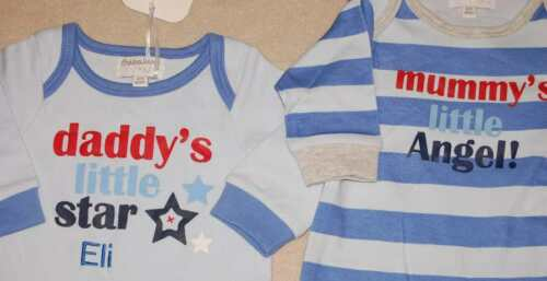 Personalise Your Name Choice Embroidered Baby Sleepsuit 2 Styles All Sizes
