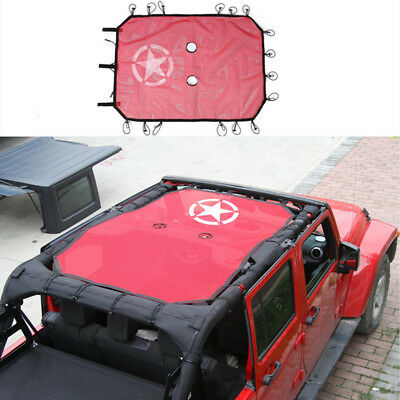 fit for Jeep Wrangler JK 4 Door Sun Shade Top Cover UV Protection Star Roof Mesh
