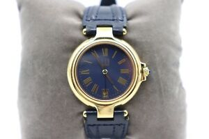 Dunhill-Millenium-Armbanduhr-vergoldet-blaues-Ziffernblatt-unisex-sehr-gut