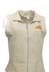 Tri-Mountain-Women-039-s-Sz-M-Zip-Front-Vest-With-Pumpkin-Applique-Gray