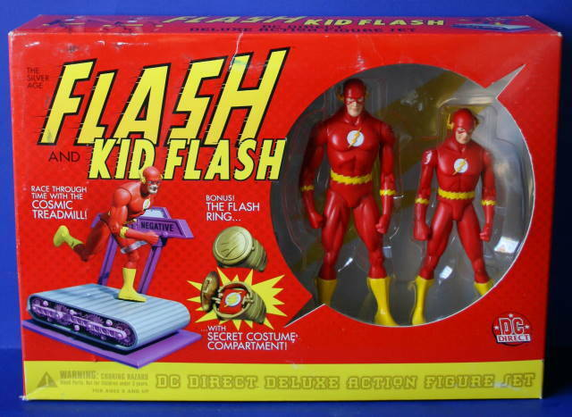 DC DIRECT FLASH & KID FLASH Action Figures + Cosmic Treadmill New in box 2001