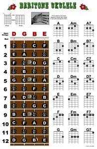 Image Is Loading Baritone Ukulele Fretboard Chord Wall Chart Poster Uke