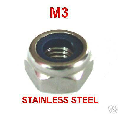 M3 Nylon Insert Stainless Steel x50 M3 Stainless Nyloc Nuts 3mm Nylocs Nylock