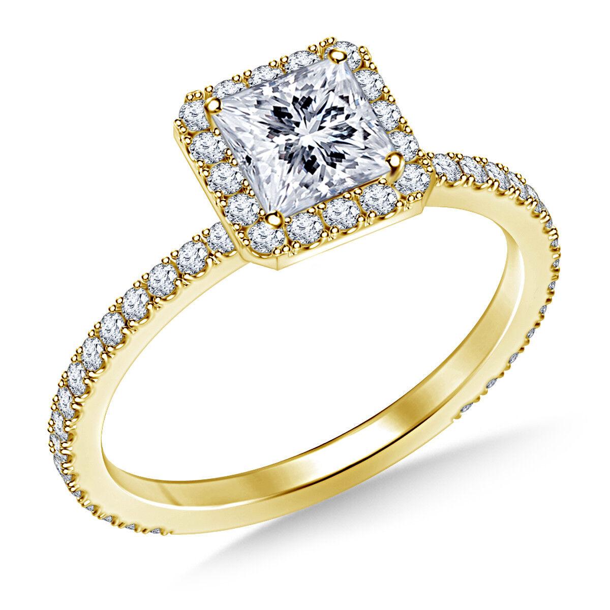 1.00 Ct VVS1 Princess Cut Solitaire Diamond Engagement Ring 18K Real Yellow gold