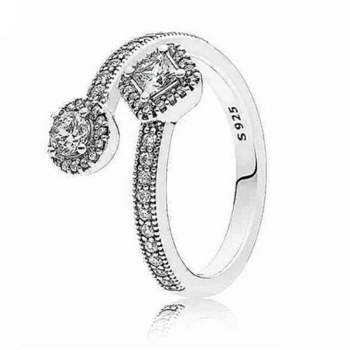 Authentic 925 Sterling Silver Abstract Elegance Clear CZ Ring Size 6 7 8 9