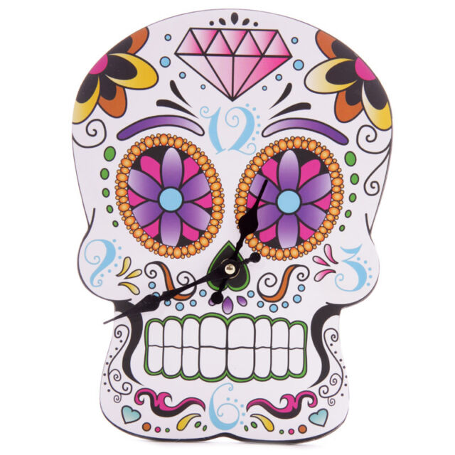 Lauren Billingham Day of the Dead Skull Wall Clock Hanging Home Decoration Gift