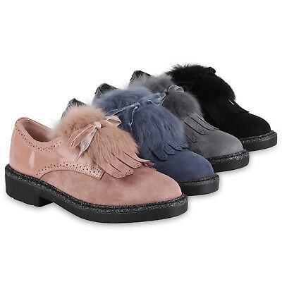 Damen Halbschuhe Brogues Fransen Lack Schuhe Blockabsatz