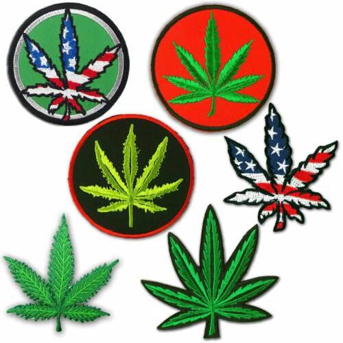 Marijuana Leaf Pot Weed Leaf USA Flag Hippie Ganja Embroidered Iron on Patch # M