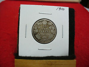 1910-CANADA-SILVER-QUARTER-DOLLAR-25-CENTS-10A-NICE-GRADE-STERLING