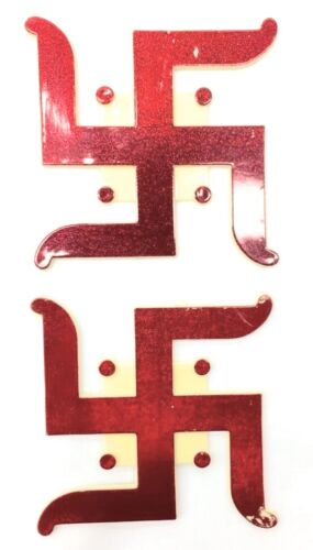 Large /& Red Swastik Plastic Adhesive Hindu Religious Sticker 3D 2x Traditional