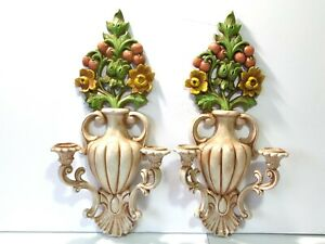 Retro-Flourish-Vintage-Painted-1965-Homco-Floral-Double-Candle-Sconce-B4-1