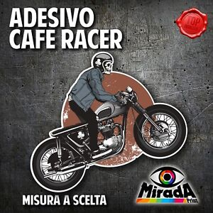Adesivo Sticker Moto Cafe Racer Skull Rider Motorbike Serbatoio