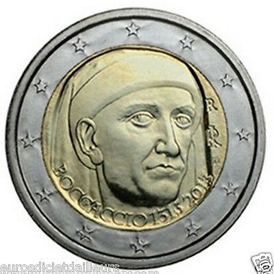 Pièce de 2 euros commémorative ITALIE 2013   -  Giovanni BOCCACCIO  -  UNC