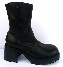 Vtg 90s Skechers Leather Chunky Platform Boots Calf Ankle Lug Sole Grunge Zip-Up