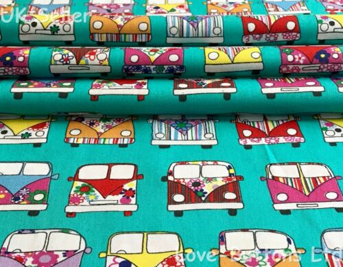 Rose /& Hubble 100/% cotton mint VW campervan style fabric half//full mtrs /& FQ