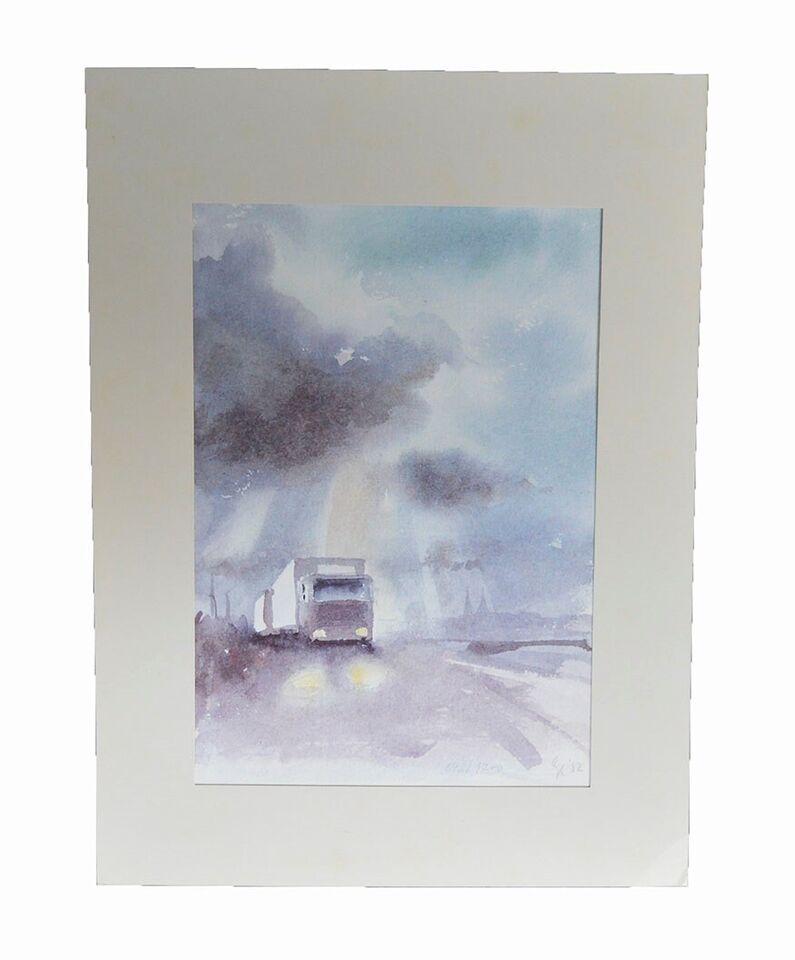 Akvarel, Gunnar Kelsen, motiv: Lastvognen gennem Danmark