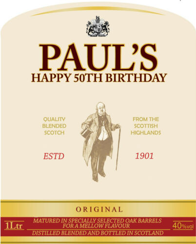 BIRTHDAY 70CL GIFT WHISKEY PERSONALISED BELLS WHISKY BOTTLE LABEL PARTY