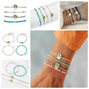 4Pcs-Cactus-Simple-Fashion-Women-Blue-Pink-Beads-Bangle-Rope-Bracelet-Jewelry