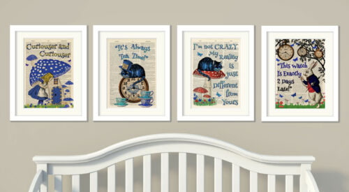 Set of 4 Alice in Wonderland Antique Book page Art Prints A4-Nursery Set1 Blue