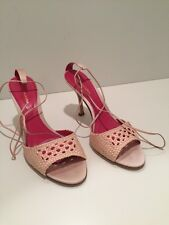 New BCBG MAX AZRIA Sandals Tie Heels Shoes Size 9 B 39 Pink Blush