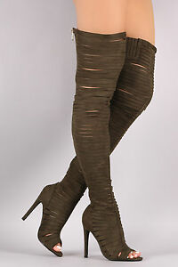 7065442b734 Details about Strappy Over Knee Thigh High Cut Out Open Peep Toe Boots  Olive Green Sz 6