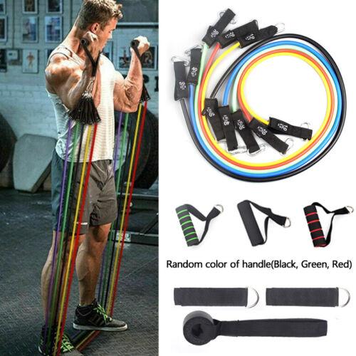 11x Widerstandsbänder Set Pull Rope Gym Home Fitness Yoga Tube AH