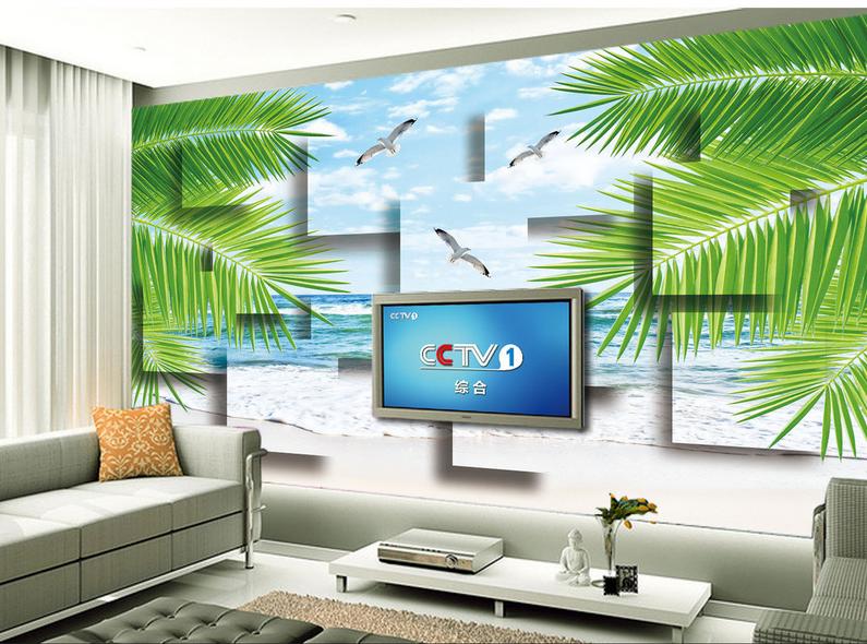 3D Vogel Strand Blätter  863 Tapete Wandgemälde Tapete Tapeten Bild Familie DE