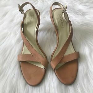 Coach-Natural-Leather-Heels-Sandals-Kyra-Sling-back-Peep-Toe-Shoes-Italy-6-5M