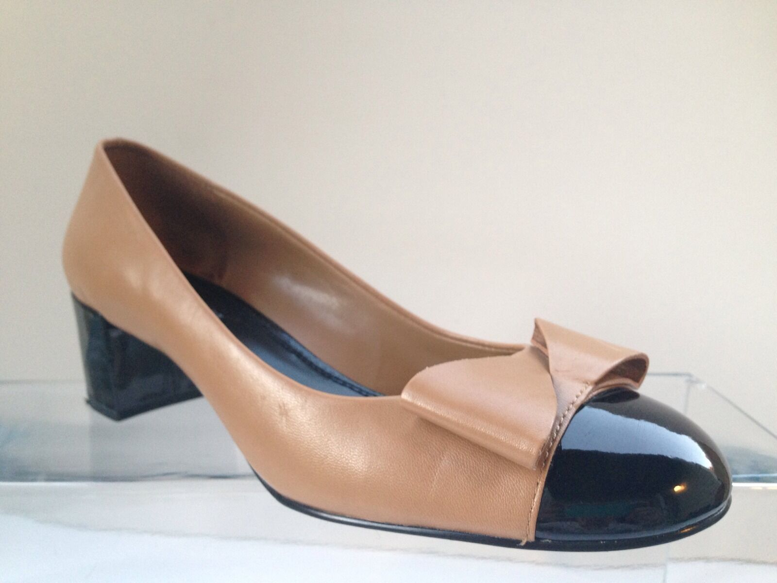 Stylish Franco Sarto  Classic  Patent Leather And Leather Low Heels. Size 9 M.