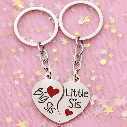 2Pcs//Set Heart Matching Key Ring Keychain Best Sister Couple Jewelry Gift