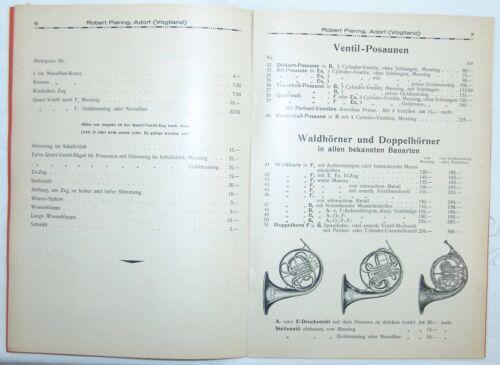 Alter Katalog Blechblasinstrumente Robert Piering Adorf Vogtland