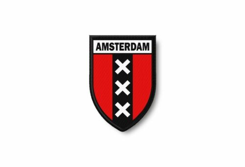 Patch embroidered edge coat of arms printed thermoadhesive city amsterdam
