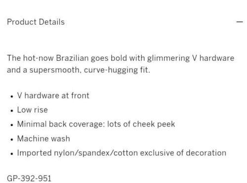 Details about  /VS V hardware Brazilian panty new size small black