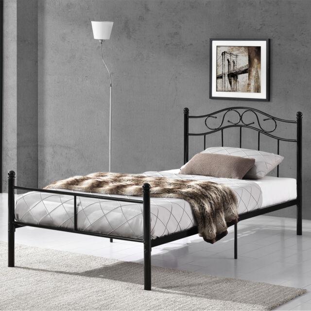 Metallbett 90x200 Schwarz Bettgestell Bett Schlafzimmer Jugendbett
