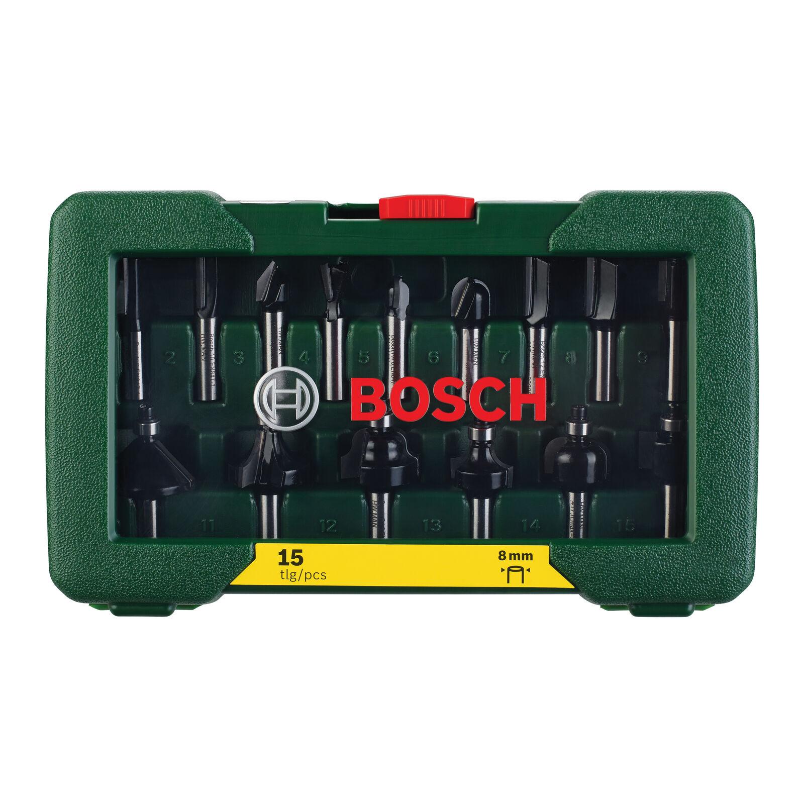 Bosch HM-Fräser-Set 15-teilig mit 8 mm Schaft 2607019469