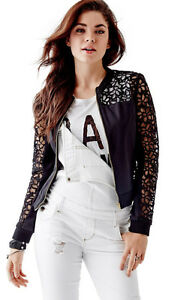 Nib Guess Floral Lace Zip Cropped Bomber Jacket Black Xs 1
