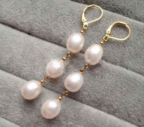 Mode Femme 8-9 mm blanc Akoya Pearl Leverback Dangle Earrings