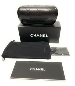 New-Chanel-Authentic-Sunglasses-Case-Black-Quilted-Leather-Hard-Clam-Shell