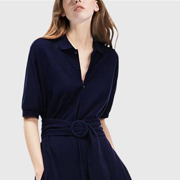 Dress long dress swing midnight bluee slim slim slim élégant soft 4583 f03544