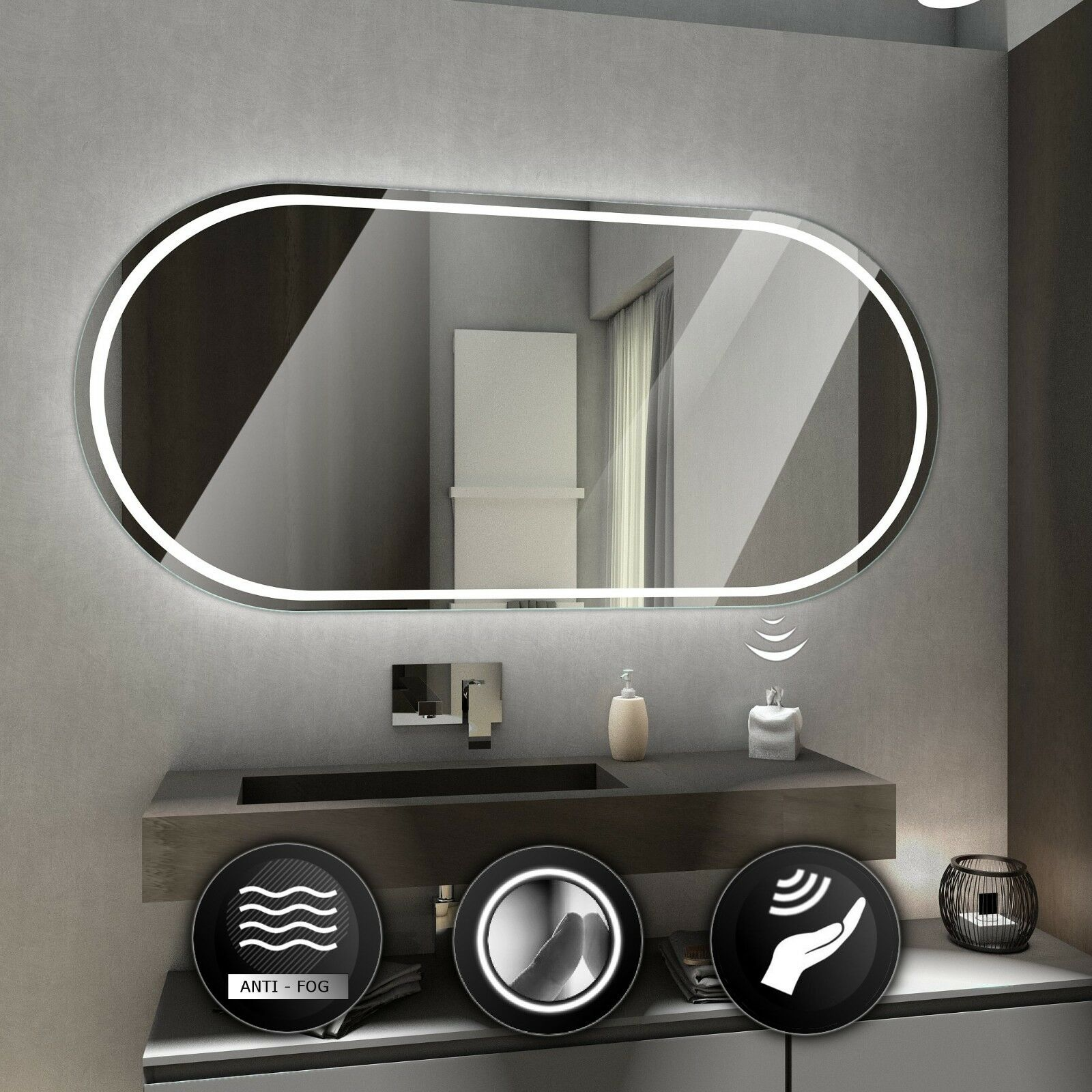 PALERMO illuminated led bathroom mirror Wall mirrors    Switches   Demister