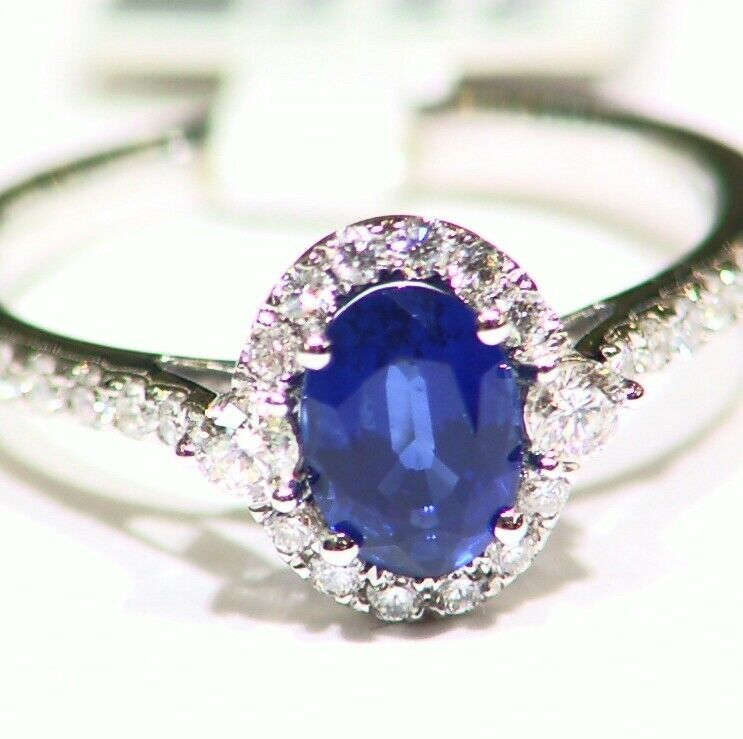 1.4CT 14K gold Natural Sapphire Round Cut White Diamond Engagement Ring Vintage