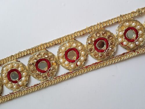 NEW Gold Pearl Embroidery Indian Sari Border Lace Ribbon Trim Ethnic Craft