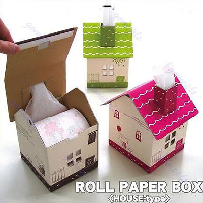1pc Folding Chipboard House-type Tissue Roll Paper Case Box Cover Holder Gift