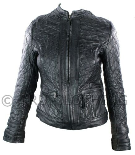 Ladies Real Leather Jacket Short Fitted Black Retro Chinese Collar