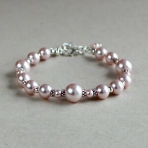Vintage Pink Blush Pearls Silver Wedding Bridesmaid Bridal Jewelry