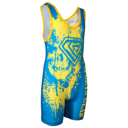 GOLD AND BLUE Wrestling Singlet by KO Sports Gear SKULL